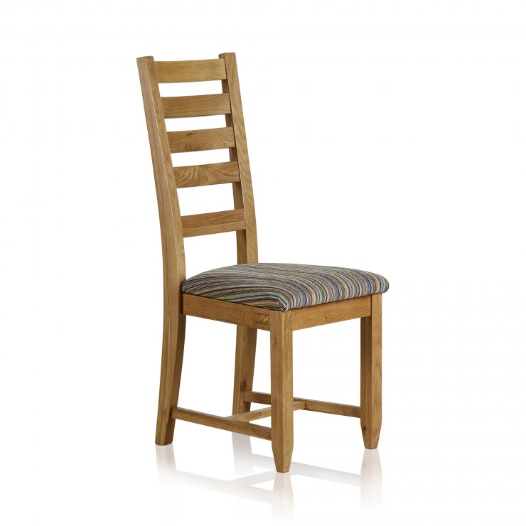Classic Dining Chair in Natural Solid Oak - Striped Multi-coloured Fabric Seat - Image 3