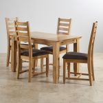 "Classic Natural Solid Oak 4ft 3"" x 2ft 7"" Extending Dining Table With 4 Plain Charcoal Fabric Chairs - Thumbnail 2"