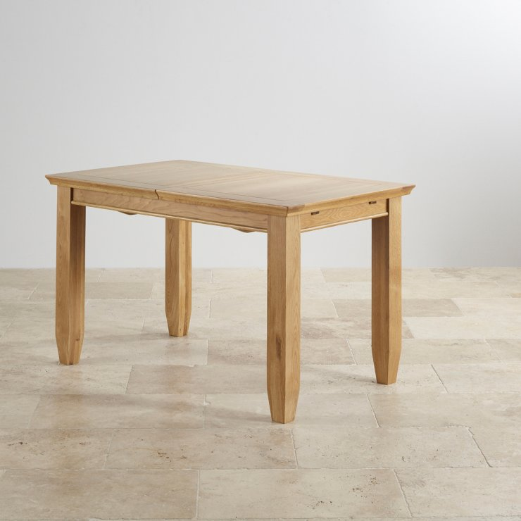 """Classic Natural Solid Oak 4ft 3"""" x 2ft 7"""" Extending Dining Table With 4 Plain Charcoal Fabric Chairs"""