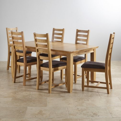 """Classic Natural Solid Oak 6ft x 3ft 3"""" Extending Dining Table with 6 Plain Charcoal Fabric Chairs"""