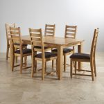 """Classic Natural Solid Oak 6ft x 3ft 3"""" Extending Dining Table with 6 Plain Charcoal Fabric Chairs - Thumbnail 2"""