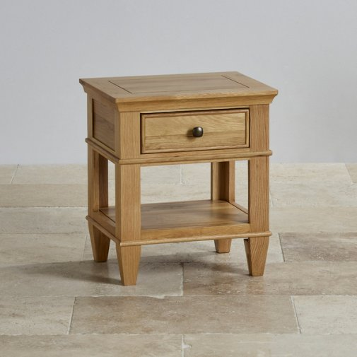 Classic Natural Solid Oak 1 Drawer Bedside Table