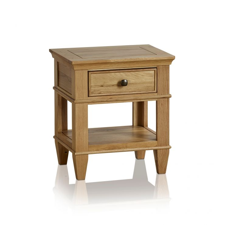 Classic Natural Solid Oak 1 Drawer Bedside Table - Image 5