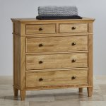 Classic Natural Solid Oak 3+2 Drawer Chest - Thumbnail 2
