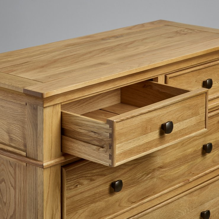 Classic Natural Solid Oak 3+2 Drawer Chest
