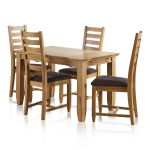 "Classic Natural Solid Oak 4ft 3"" x 2ft 7"" Extending Dining Table With 4 Plain Charcoal Fabric Chairs - Thumbnail 1"
