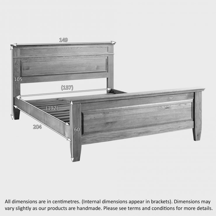 """Classic Natural Solid Oak 4ft 6"""" Double Bed"""