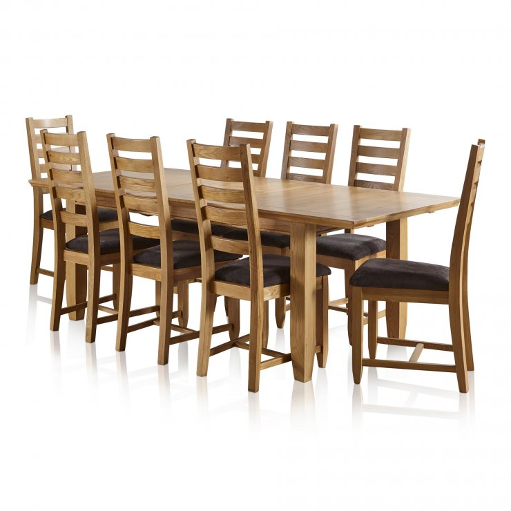"Classic Natural Solid Oak 6ft x 3ft 3"" Extending Dining Table with 6 Plain Charcoal Fabric Chairs - Image 10"