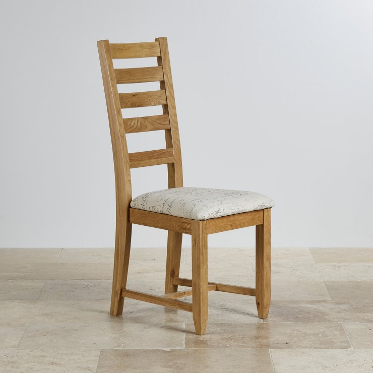 Classic Dining Chair in Natural Solid Oak - Scripted Beige Fabric Seat