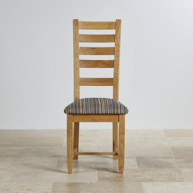 Classic Dining Chair in Natural Solid Oak - Striped Multi-coloured Fabric Seat