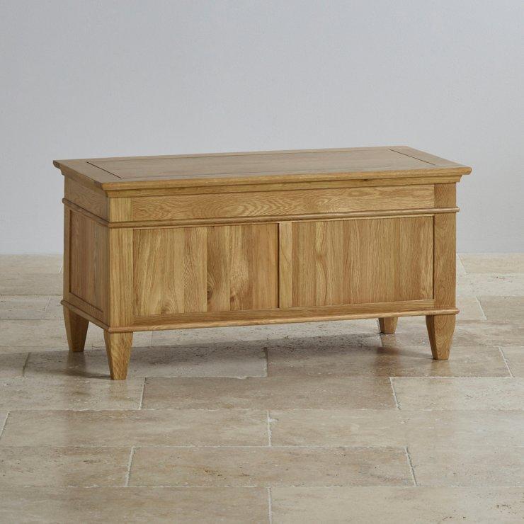 Classic Natural Solid Oak Blanket Box