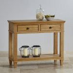 Classic Natural Solid Oak Console Table - Thumbnail 2
