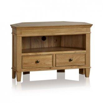 Classic Natural Solid Oak Corner TV Cabinet