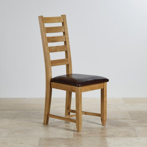 Classic Dining Chair in Natural Solid Oak - Brown Leather