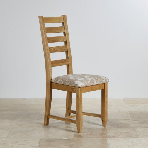 Classic Dining Chair in Natural Solid Oak - Patterned Beige Fabric Seat