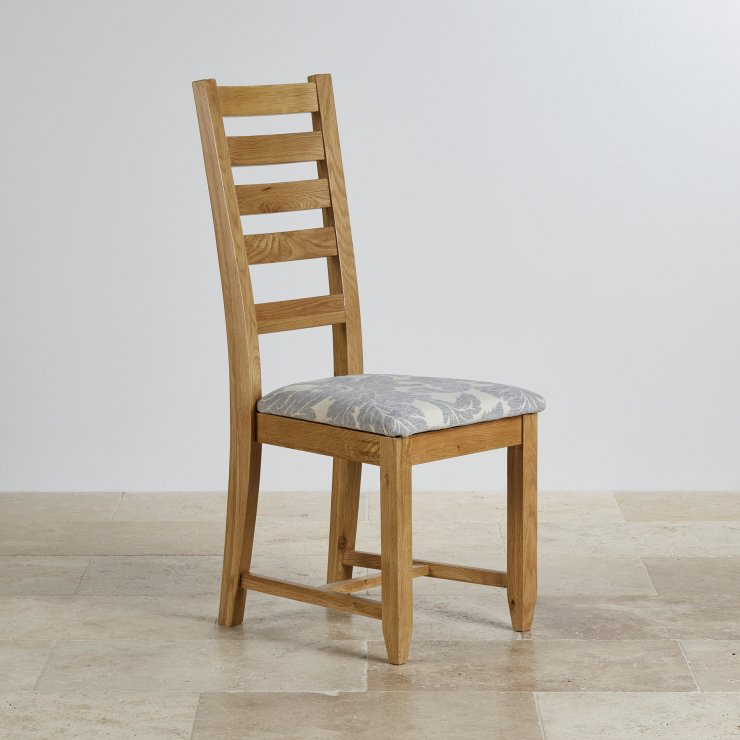 Classic Dining Chair in Natural Solid Oak - Patterned Grey Fabric seat