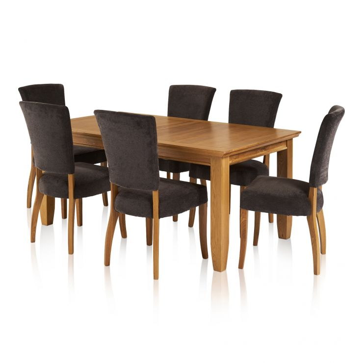 Classic Dining Set - 6ft Extendable Table with 6 Plain Charcoal Upholstered Curve Back Chairs - Image 8