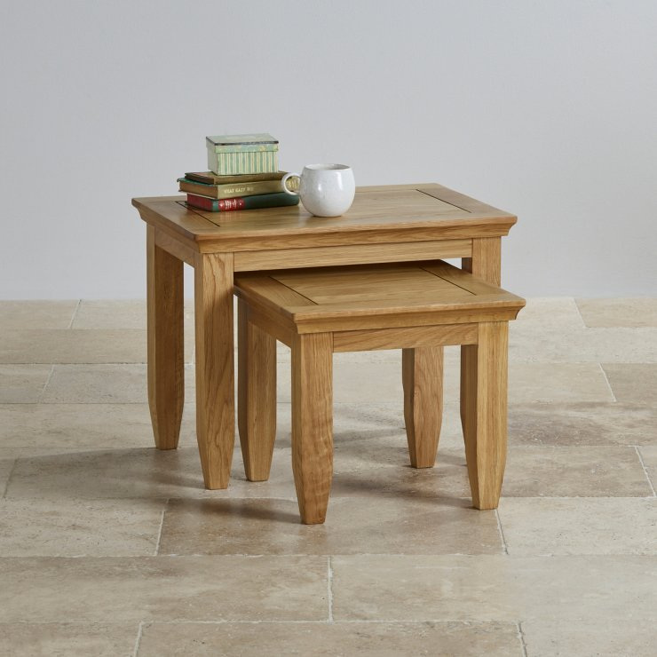 Classic Natural Solid Oak Nest of Tables