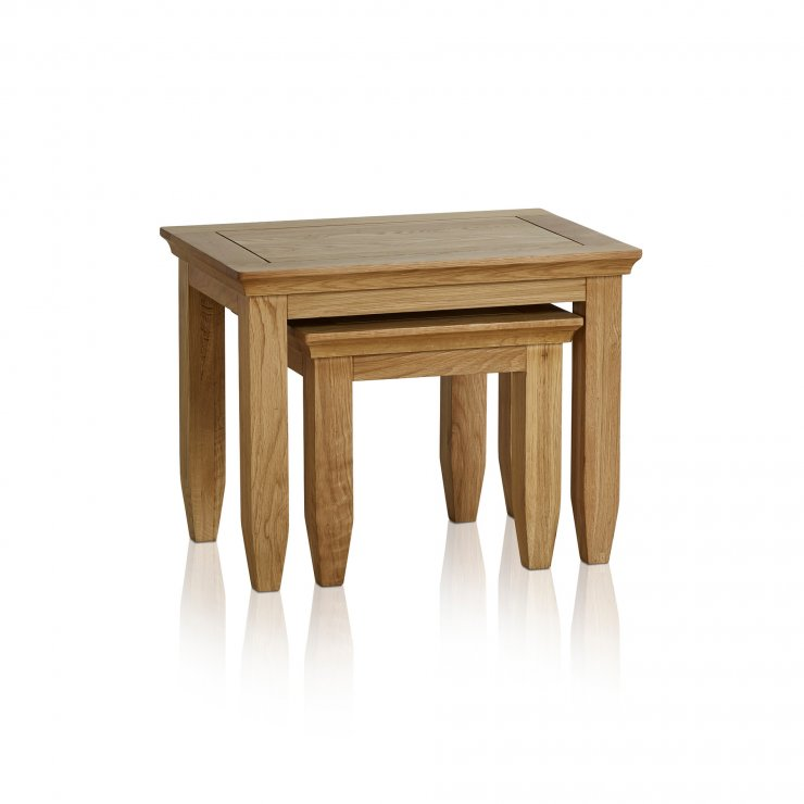 Classic Natural Solid Oak Nest of Tables - Image 3