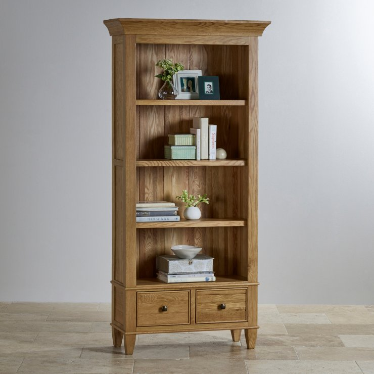 Classic Natural Solid Oak Tall Bookcase