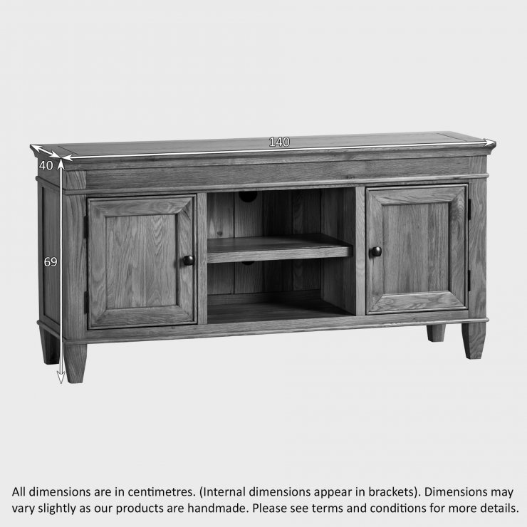 Classic Natural Solid Oak Large TV Cabinet