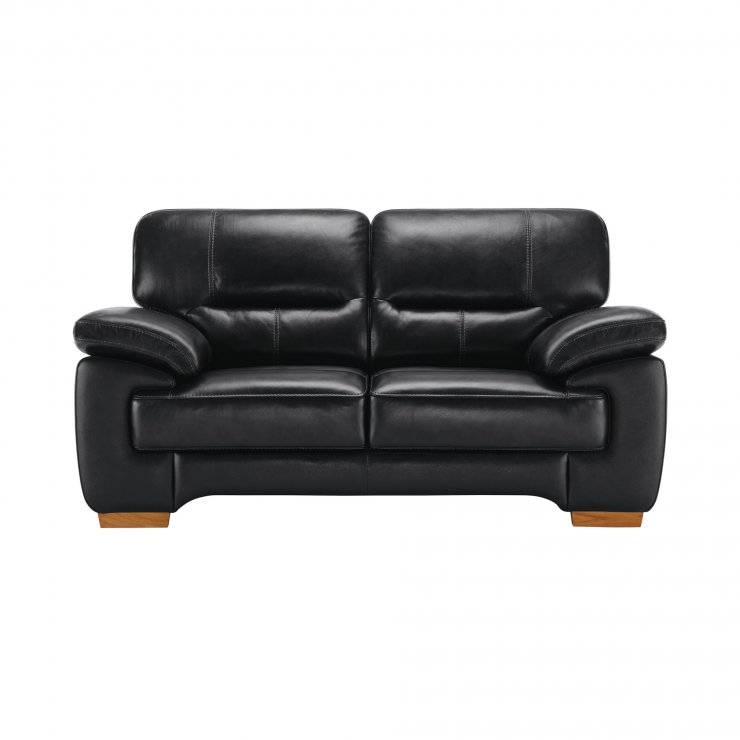 Clayton 2 Seater Sofa in Black Leather - Image 4
