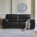 Clayton 3 Seater Sofa in Black Leather - Thumbnail 2