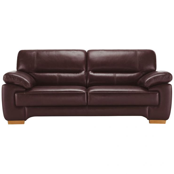 Clayton 3 Seater Sofa in Burgundy Leather - Image 3