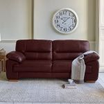 Clayton 3 Seater Sofa in Burgundy Leather - Thumbnail 2