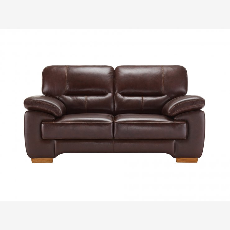 Clayton 2 Seater Sofa in Brown Leather - Image 4