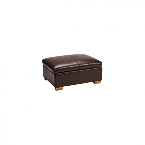 Clayton Storage Footstool - Brown Leather
