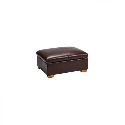 Clayton Storage Footstool - Brown Leather