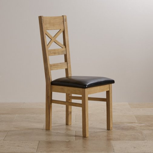 Coastal French-Washed Solid Oak and Black Leather Dining Chair