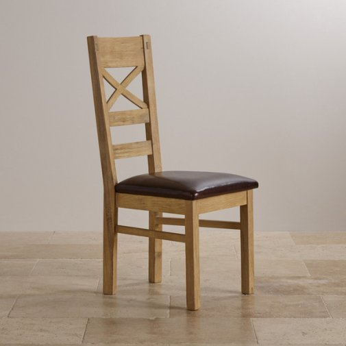 Coastal French-Washed Solid Oak and Brown Leather Dining Chair