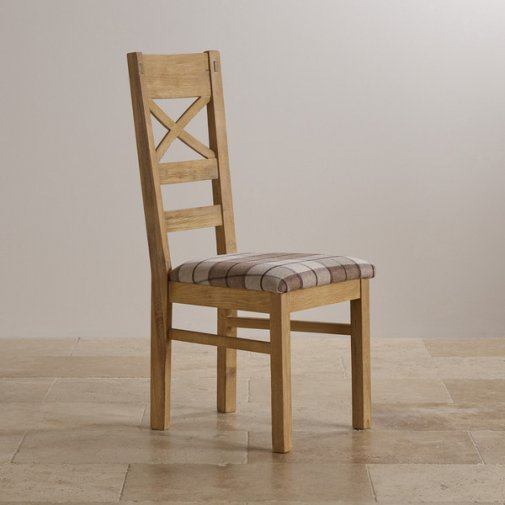 Coastal French-Washed Solid Oak and Check Brown Fabric Dining Chair