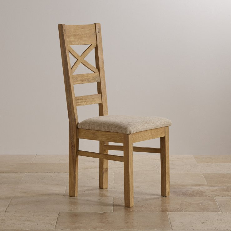 Coastal French-Washed Solid Oak and Plain Beige Fabric Dining Chair
