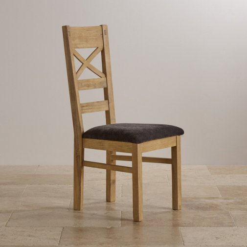 Coastal French-Washed Solid Oak and Plain Charcoal Fabric Dining Chair