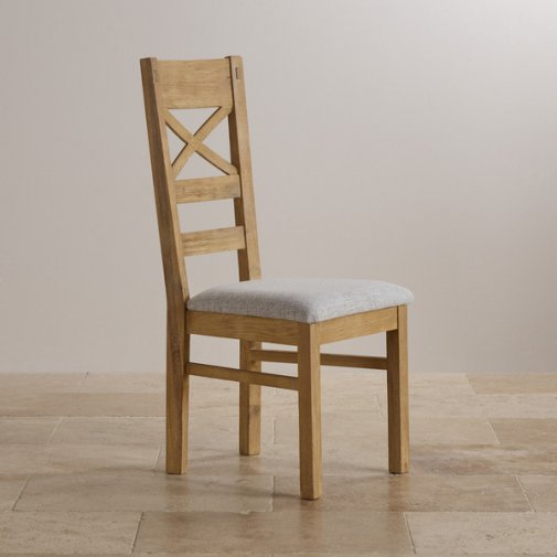 Coastal French-Washed Solid Oak and Plain Grey Fabric Dining Chair