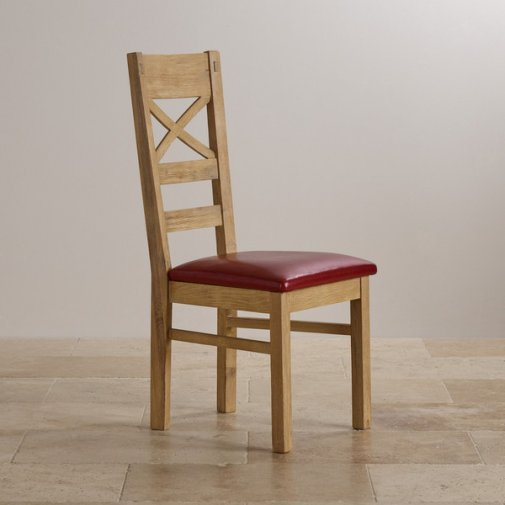 Coastal French-Washed Solid Oak and Red Leather Dining Chair