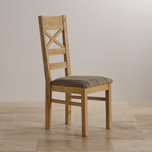 Coastal French-Washed Solid Oak and Striped Multi-coloured Fabric Dining Chair