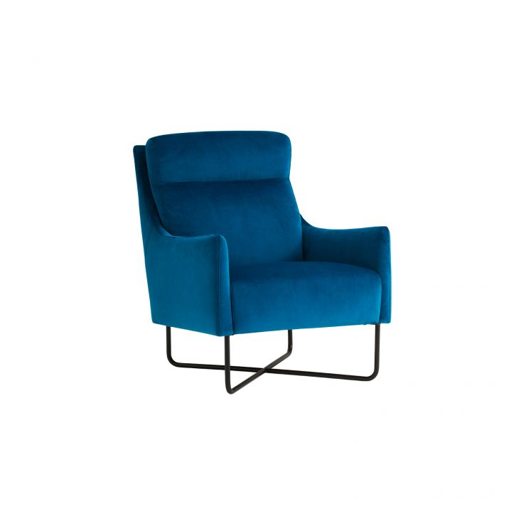 Coco Teal Velvet Fabric Accent Chair