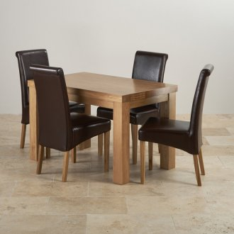 Contemporary Chunky Natural Solid Oak Dining Set - 4ft Table with 4 Scroll Back Brown Leather Chairs