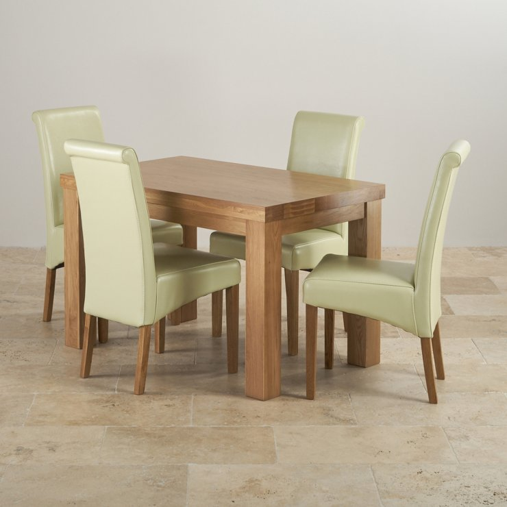 Contemporary Chunky Natural Solid Oak Dining Set - 4ft Table with 4 Scroll Back Cream Leather Chairs