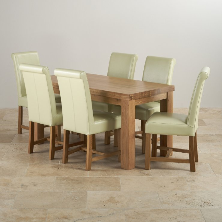 Contemporary Chunky Natural Oak Dining Set - 5ft Table +6 Cream Chairs