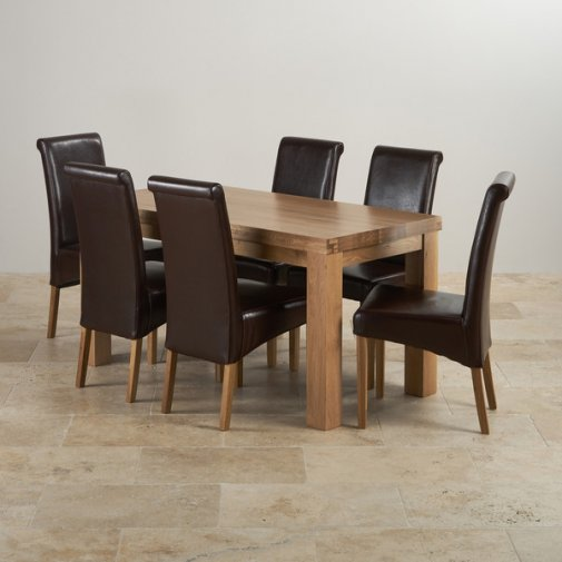 Contemporary Chunky Natural Solid Oak Dining Set - 5ft Table with 6 Scroll Back Brown Leather Chairs