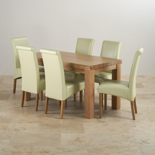 Contemporary Chunky Natural Solid Oak Dining Set - 5ft Table with 6 Scroll Back Cream Leather Chairs