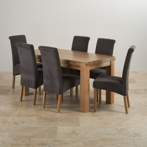 Contemporary Chunky Natural Oak Dining Set - 5ft Table w/ 6 Scroll Back Plain Charcoal Fabric Chai