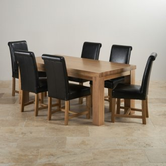 Contemporary Chunky Natural Solid Oak 6ft Table with 6 Braced Scroll Back Black Leather Chairs