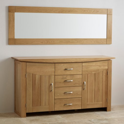 Contemporary Natural Solid Oak 1800mm x 600mm Wall Mirror