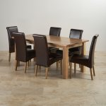 Contemporary Natural Solid Oak Dining Set - 6ft Table with 6 Scroll Back Brown Leather Chairs - Thumbnail 2